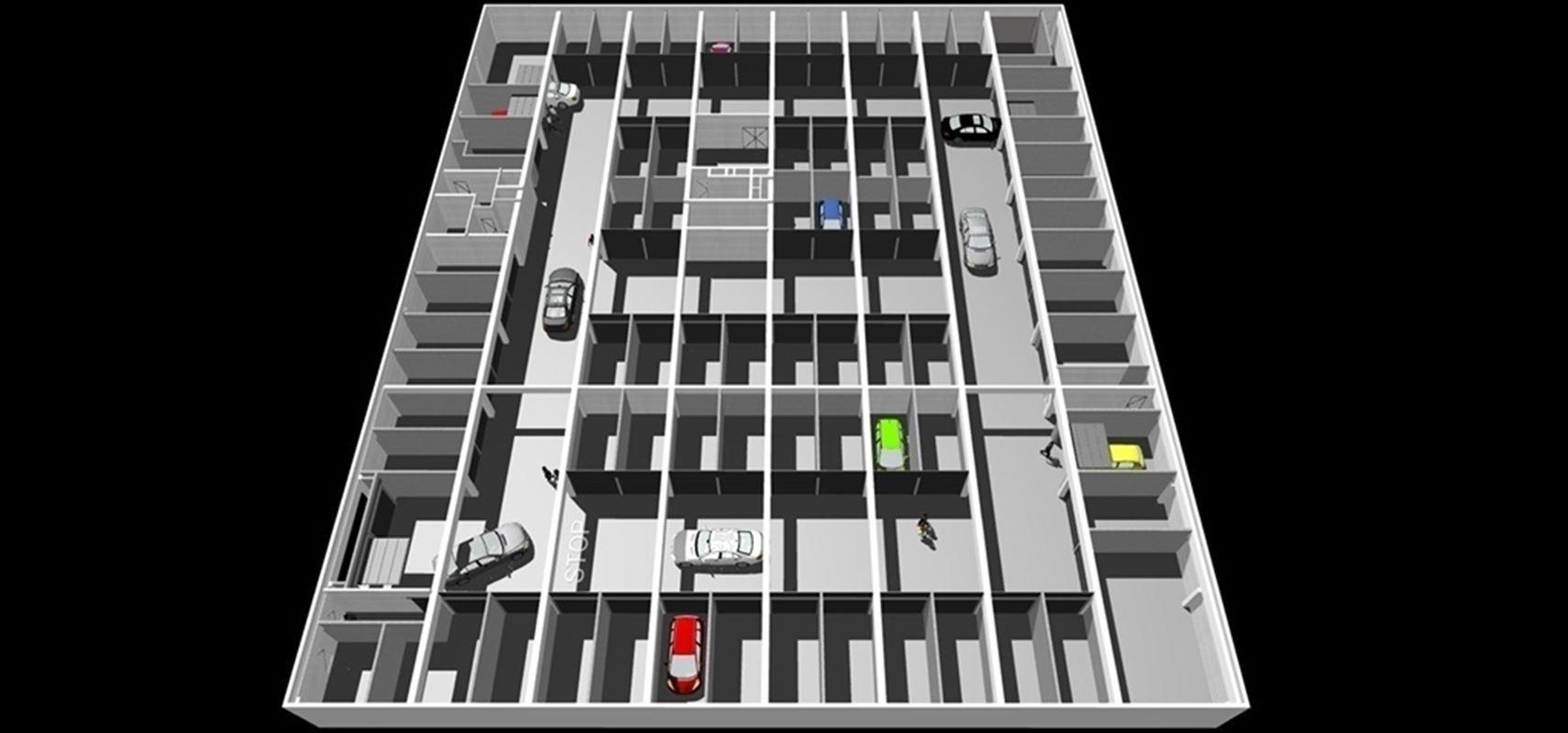 GARAGES en plein centre-ville de Mouscron -  sous-sols, sous surveillance vidéo, avec accès sécurisé, nettoyage hebdomadaire, porte sectionnelle motorisée, électricité et alarme incendie. 056 / 554 000