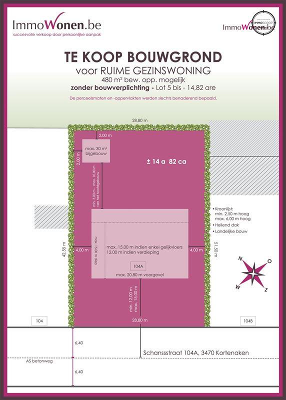 Foto 2 : Bouwgrond te 3470 KORTENAKEN (België) - Prijs € 164.900