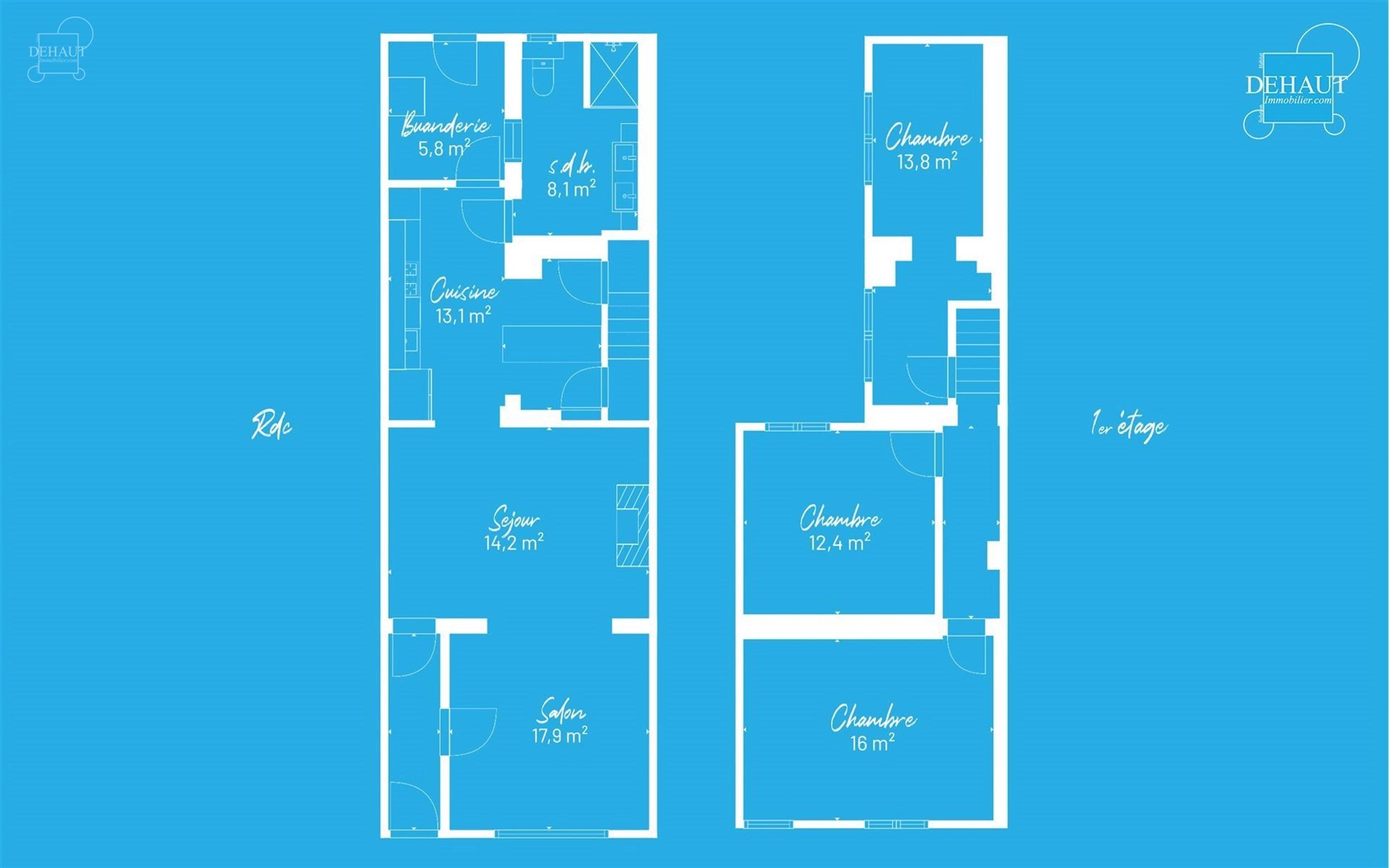 Maison constituée au rez-de-chaussée d'un séjour d'env. 17.96m², d'une cuisine semi-équipée d'env. 13.10m² accompagnée d'une arrière-cuisine ...